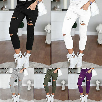 Damen Slim Fit Stretch Ripped Hosen Leggings Treggings Freizeit Hochbund Leggins