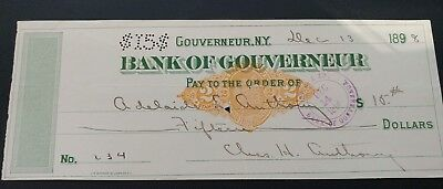 Bank Of Gouverneur New York Cancelled Check 1898 Adelaide Anthony