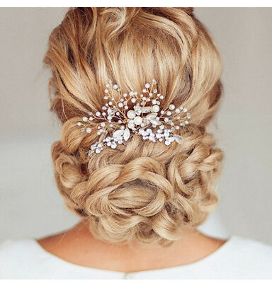 Wedding Bridal Women Rhinestone Crystal Pearl Hair Clips Pin Comb Hair Jewelry