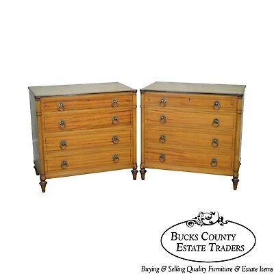 Kittinger Regency Style Pair of Satin Wood Chests of Drawers