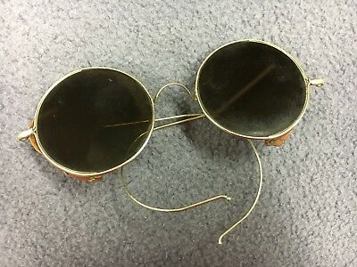 Vintage Willson Antique Safety Glasses Glass Lenses Leather Dark Tint Goggles