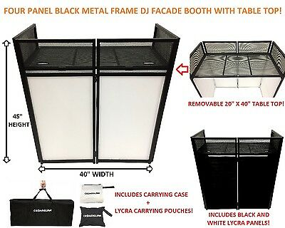 """DJ Event Facade White/Black Scrim Metal Frame Booth + 20"""" x 40"""" Flat Table Top"""