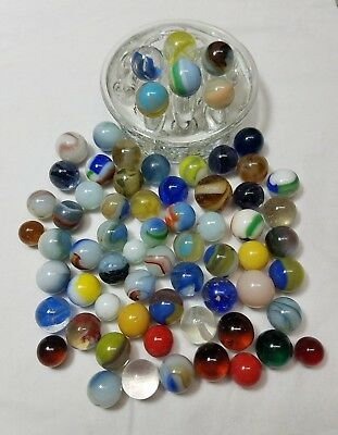 Vintage Antique Glass Marbles Akro Agate Blue Green Red Yellow Purple Swirl Slag