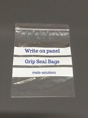 """""""WRITE ON PANEL"""" GRIP SEAL BAGS Self Resealable Polythene Zip Lock Clear Pouches"""