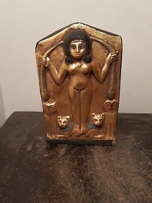Rare Antique Ancient Egyptian Statue Goddess Astarte, Sekhmet, Cobra 814-730BC