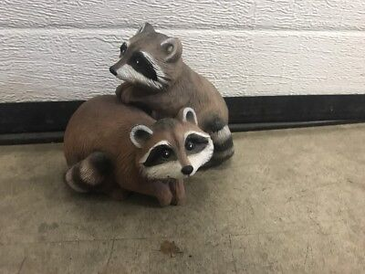 ThriftCHI ~ 1991 Art Line Plastic Weighted Raccoon Figurines (2)