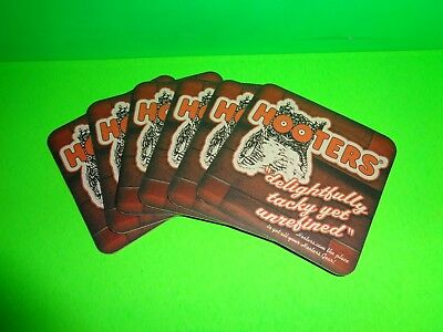 HOOTERS RESTAURANTS BEER BAR COASTER - Set of 6