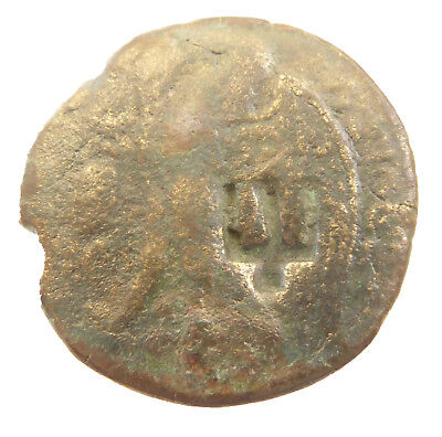 ANCIENT Greek BRONZE coin with countermark trident  #jn667