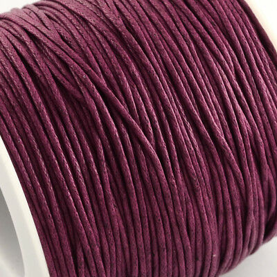 Waxed Cotton Cord Thread 1mm Burgundy Purple Red for bead stringing necklace