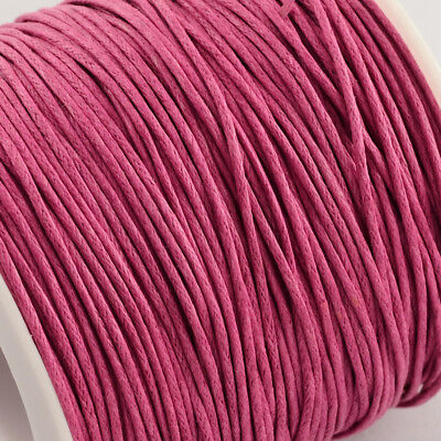 Waxed Cotton Cord Thread 1mm Pink for bead stringing bracelet necklace making