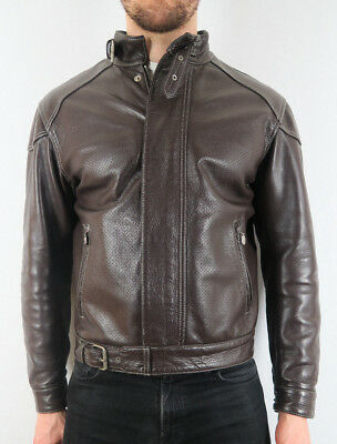 Belstaff LION Blouson RARE Brown Unlined Perforated Panel Leather Jacket L LARGE