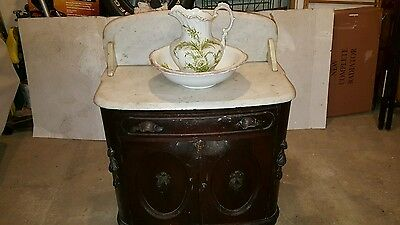 Antique Wash Stand with Marble Top .