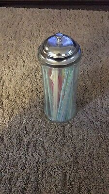 Vintage Glass Straw Holder Dispenser Soda Fountain Style Chrome Top