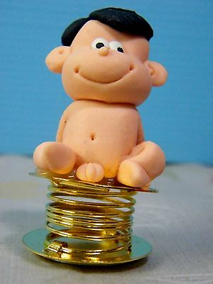 Wobble Crazy Boy Bobble Spring Car Dashboard Polymer Clay Sculpted Novelty #06