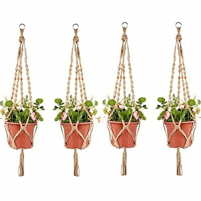 4 Pack Plant Hanger Legs 3.3 Ft With Beads And Ring, Strong Handmade Jute Indoor