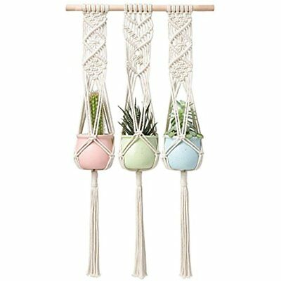 Macrame Plant Hanger Triple Hanging Planter Wall Home Decor 30 Inches