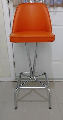 Vintage Mid Century Orange Chrome Swivel Stool Kitchen Counter Chair Retro