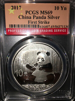 2017 China Panda 10 Yuan Flag Label 30 g Silver ~First Strike PCGS MS 69 Coins!