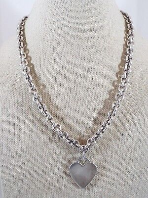 """Sterling Silver Rolo Chain Engrave-able Heart Pendant Necklace 16"""" Long"""