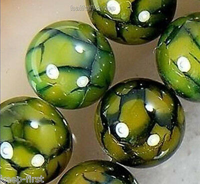 Rare 10mm Natural Green Dragon Veins Agate Round Gemstone Loose Beads 15'' AAA