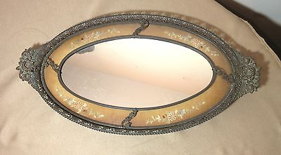 LARGE antique ornate bronze French needlepoint dresser vanity mirror tray brass