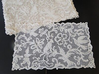 Antique Lace- Twelve Hand Made Lace Placemat Set W/hunting Scene,birds