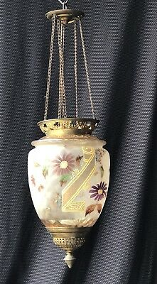 Chandelier / Lantern Napoleon Iiii Glass Enamelled And Painted Time 19Th Century