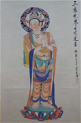 Excellent Chinese 100% Hand Painting & Scroll buddha By Zhang Daqian 张大千 WED389