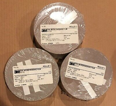 NEW 1 Case 3M microfinishing Film 3 Roll 1.656,150ft,5/8,Abrasive side out 15MIC