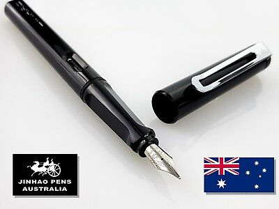 JINHAO 599a Black Fountain Pen Fine Nib + 5 Black Cartridges