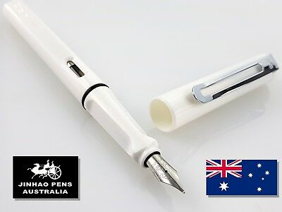 JINHAO 599a White Fountain Pen Fine Nib + 5 Black Cartridges