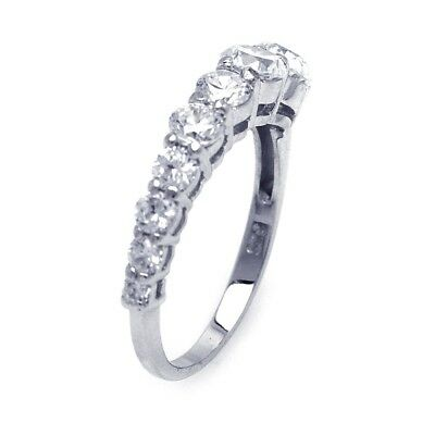 Beautiful Graduated Cubic Zirconia Sterling Silver Ladies Ring Sz 10.25 4.5g