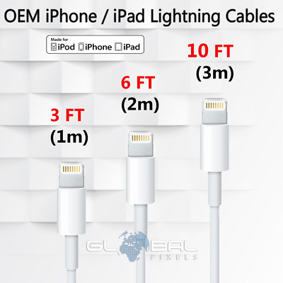 Original Lightning Apple Cable 3ft 6ft 10ft charger MFi Certified 3m iPhone 6 7