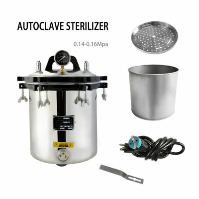 18L Steam Autoclave Sterilizer High Pressure Uperization Eqpt. Tattoo Dental Lab