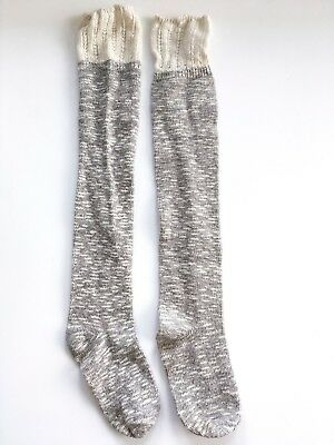 Vintage Women's Heather Gray and White Knee Socks Size Small