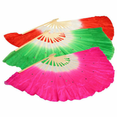 Silk Veil Folk Art Chinese Belly Dance Dancing Bamboo Short Fan Colorful Chinese