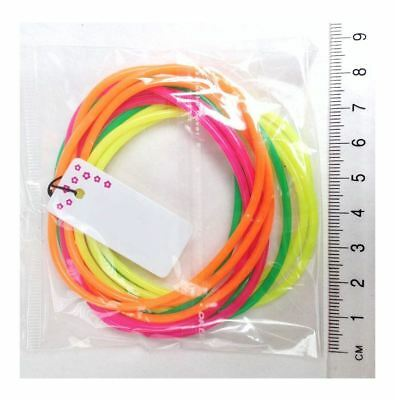 Ladies Gummie Bangles Neon Colors Pack of 12 Women Bracelets Wristband Accessory