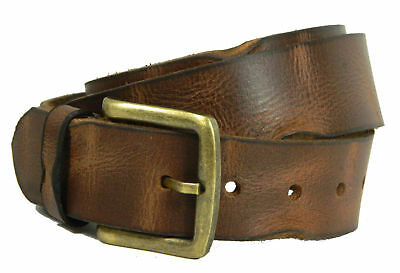 Men's Real grain Leather Belt Crunch wide heavy Milled strap Gift jeans Trouser