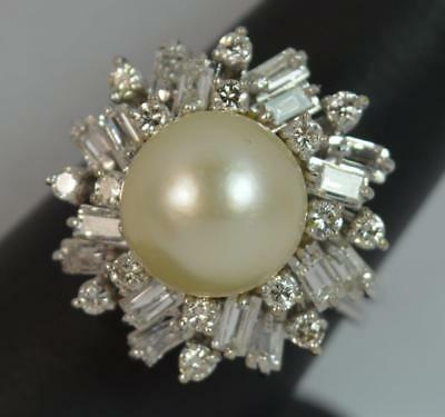 Incredible Pearl & 1.50ct Diamond 18ct Gold Gold Cocktail Cluster Ring d0681