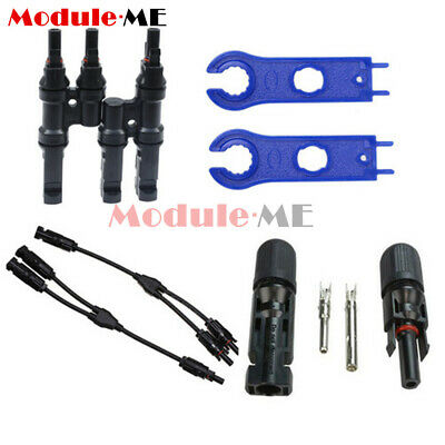 1Pair 2PCS MC4 Y/T Type Solar Panel Cable Adapter Male Female Connector Wrench