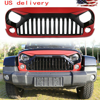 Gloss Red Paint Front Gladiator Vader Grille Grill for 07-18 Jeep Wrangler JK
