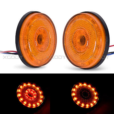 Pair 12V 24 LED Amber Round Rear Tail Brake Stop Marker Light Indicator Trailer