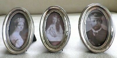 Antique hallmarked solid silver miniature George V oval picture frames