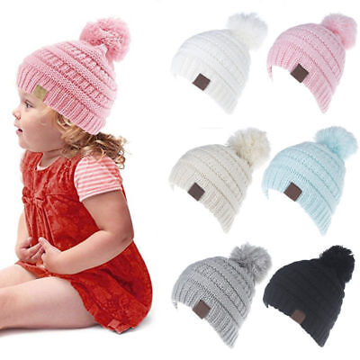 Baby Infant Boy Girl Winter Warm Knitted Cap Toddler Beanie Pom Pom Ski Hat YA