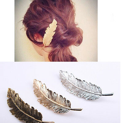 Women New Leaf Feather Hair Clip Hairpin Barrette Bobby Pin Accessories Gift