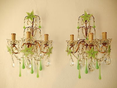 ~c 1920 French RARE Green OPALINE Flowers Drops & Crystal Prisms Sconces~