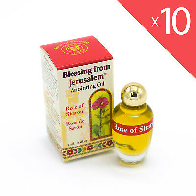 Lot of 10 x Anointing Oil Rose Of Sharon 12ml - 0.4oz From Holyland (10 bottles)