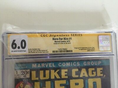 Luke Cage Hero for Hire #1 Signature Series CGC 6.0 signed by Stan lee