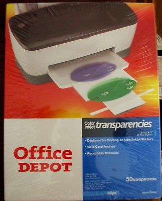 OFFICE DEPOT Transparency Film Color Inkjet Printers 50 Sheets 8.5 x 11