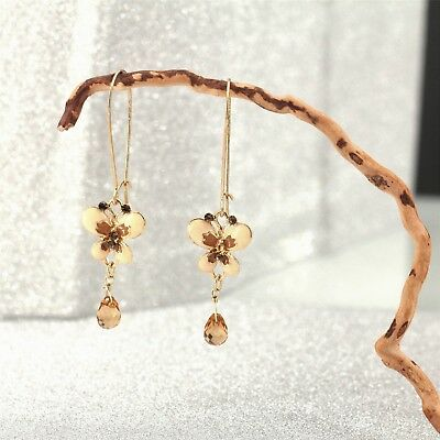 Earrings Butterfly Beige Ball Brown Retro Antique Style Gift Ff 2
